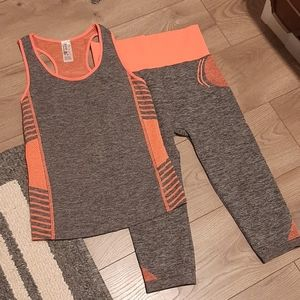 NWOT 2pc New Mix Orange And Grey Athletic Set